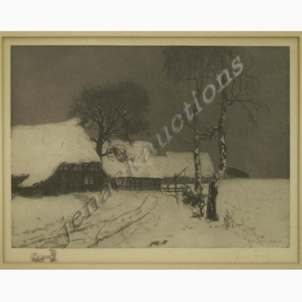 1320: ETCHING, WINTER FARM, SIGNED HERM THIELE, BERLIN