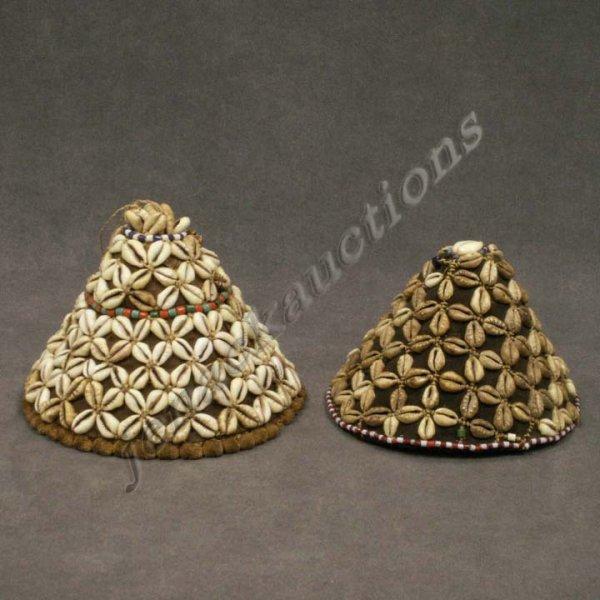 1381: LOT (2) MALI/CAMEROON COWRY SHELL MOUNTED HATS
