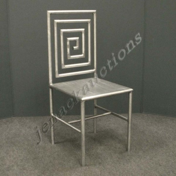 7: DESIGNER MODERN STAINLESS STEEL SIDE CHAIR