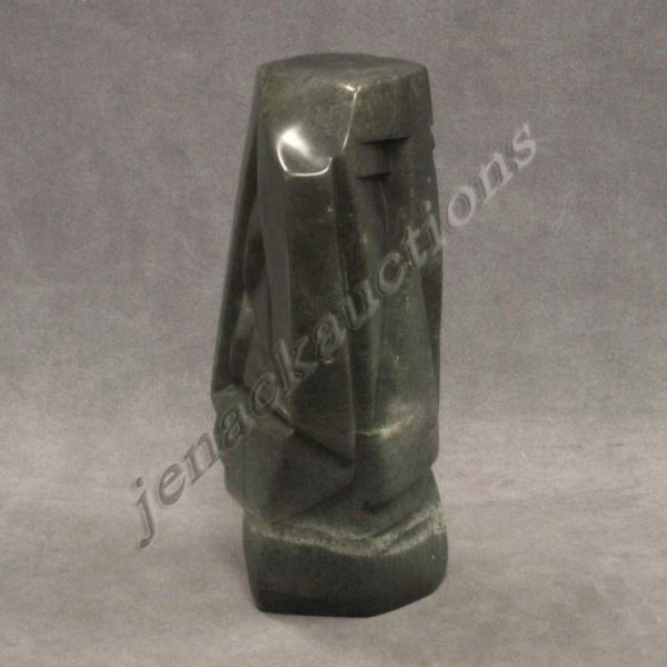 "10: ABSTRACT GREEN STONE FIGURE ""THE LISTENER"