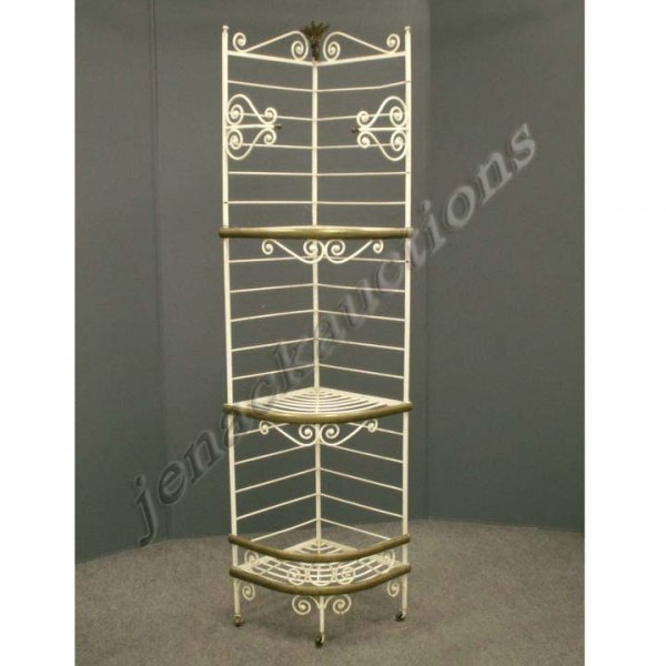 11: FRENCH WROUGHT IRON/BRASS CORNER BAKER'S RACK