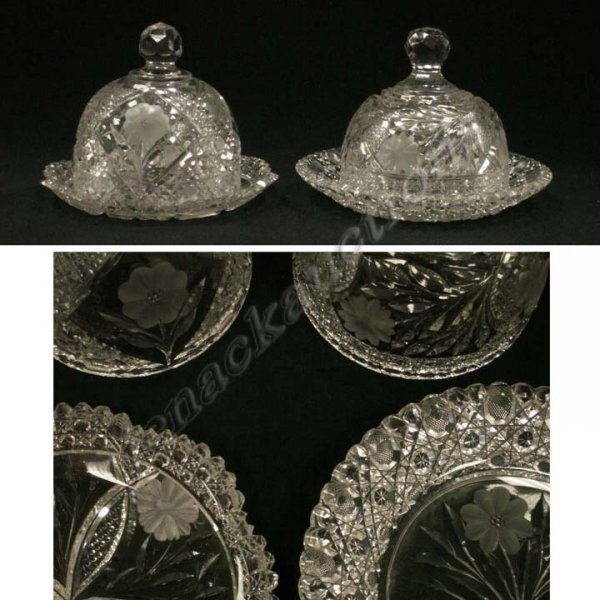 18: LOT (2) VINTAGE PRESSED/CUT GLASS COVERED BUTTER