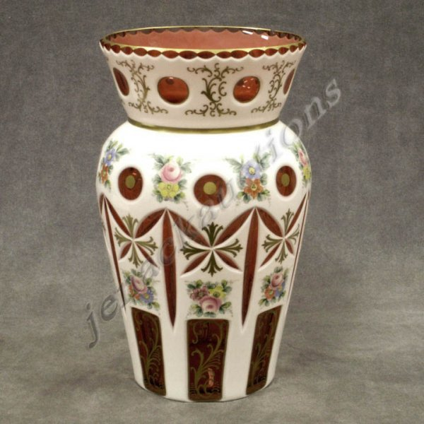 22: BOHEMIAN WHITE CUT TO CRANBERRY ENAMELED VASE