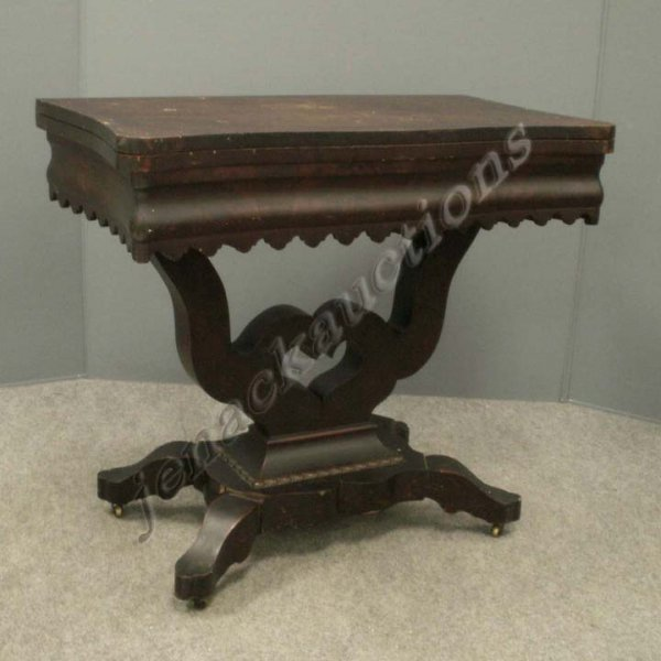 23: PAIR EMPIRE CARVED MAHOGANY LYRE BASE GAME TABLES