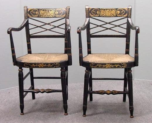 7: PAIR SHERATON PAINTED FANCY ARMCHAIRS
