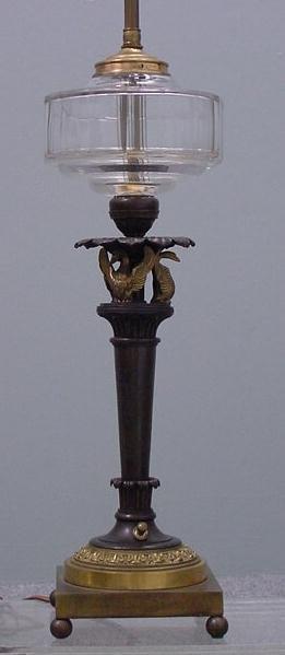 9: FR. EMPIRE STYLE GILT/BRONZE FLUID LAMP