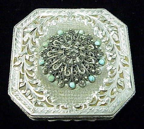 13: CONTINENTAL SILVER & TURQUOISE COMPACT