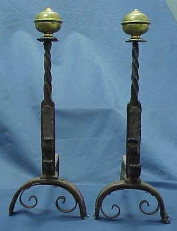 19: PAIR HAND FORGED IRON/BRASS ANDIRONS