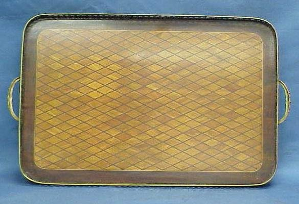 22: FRENCH BRONZE/MARQUETRY INLAID TRAY