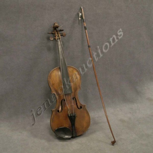 1007: VINTAGE GEORGE KLOZ VIOLIN WITH HALL AND SONS BOW