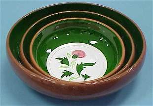 """3 PC STANGL """"THISTLE"""" NESTING BOWLS"""