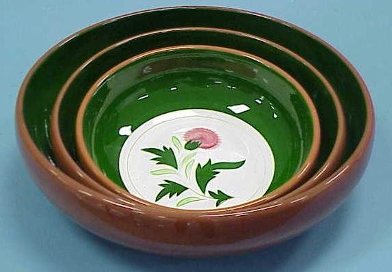 """8: 3 PC STANGL """"THISTLE"""" NESTING BOWLS"""