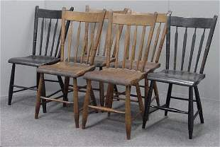SET (6) COUNTRY PLANK SEAT CHAIRS