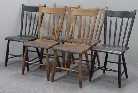 17: SET (6) COUNTRY PLANK SEAT CHAIRS