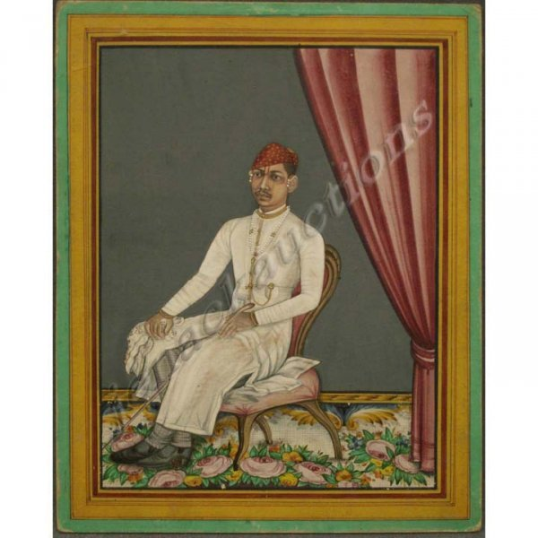 1: INDIAN MINIATURE OPAQUE WATERCOLOR, 18THC