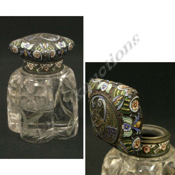6: FINE RUSSIAN 88 SILVER/ENAMEL CRYSTAL INK WELL
