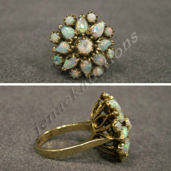 8: 14K YELLOW GOLD BLACK OPAL STAR BURST RING