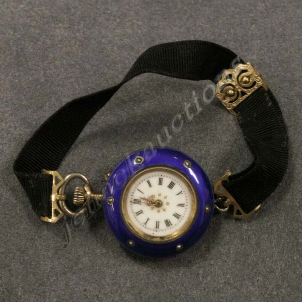 9: VINTAGE ENAMELED, SILVER & SEED PEARL LAPEL WATCH