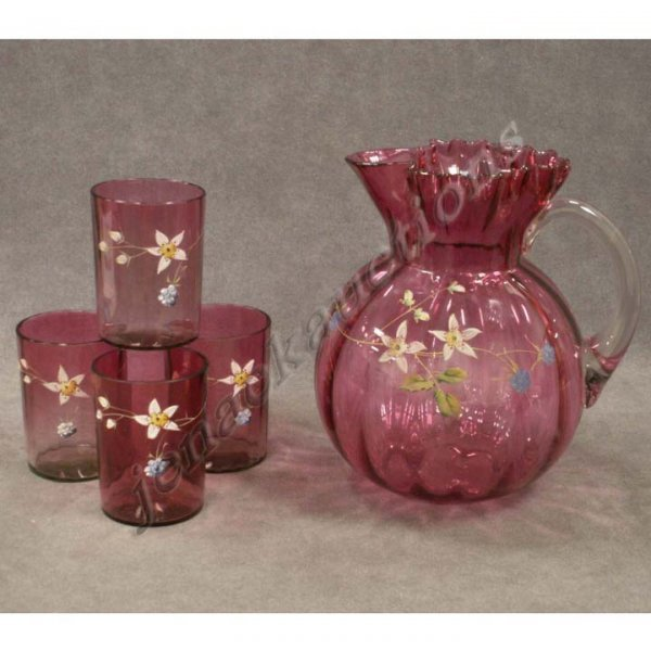 22: VICTORIAN ENAMELED CRANBERRY GLASS WATER SET
