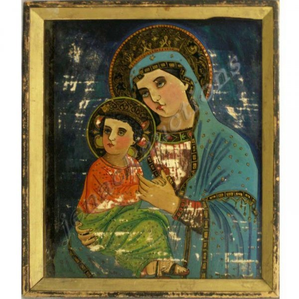 24: CENTRAL EUROPEAN EGLOMISE ICON, MOTHER/CHILD