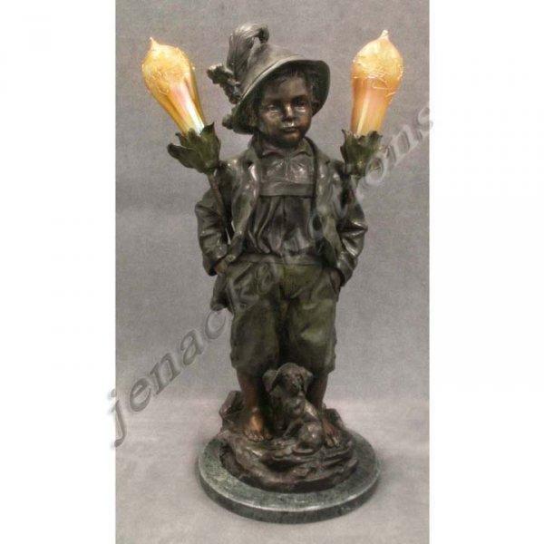 135: BRONZE FIGURAL LAMP, BOY WITH PUPPY, HAUBNER