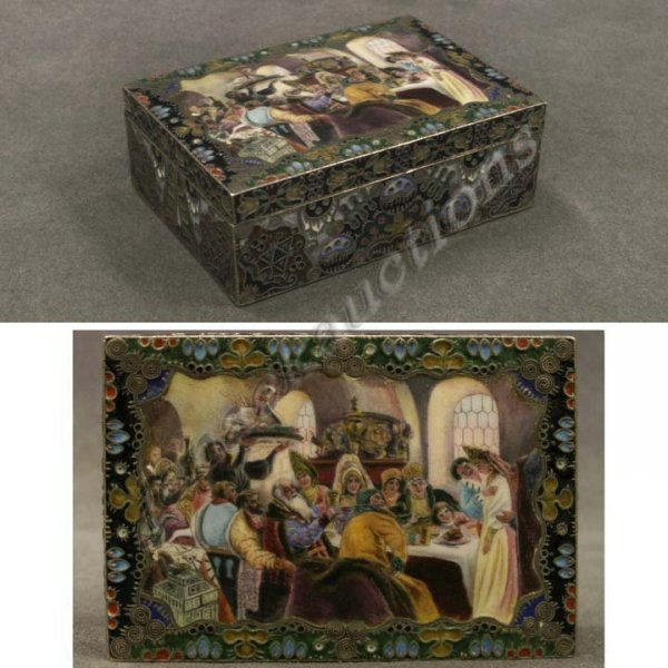 193: FINE RUSSIAN SILVER/ENAMEL COVERED BOX, 19THC