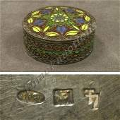 244: RUSSIAN 916 SILVER/ENAMEL ROUND COVERED BOX
