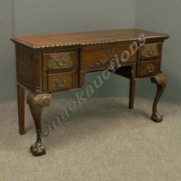 1003: CHIPPENDALE STYLE CARVED MAHOGANY CONSOLE TABLE