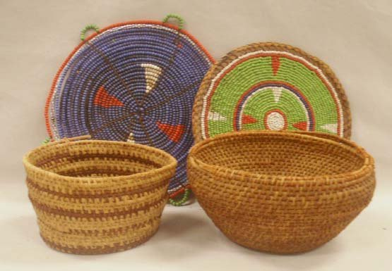 2005: LOT (4) ASSORTED AMERICAN INDIAN BEADED BASKETRY