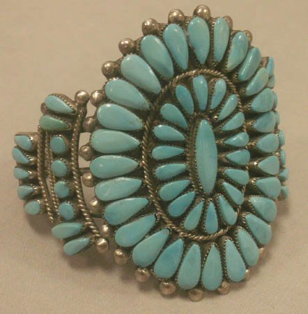 2007: SOUTHWEST AMERICAN INDIAN SILVER/TURQUOISE CUFF