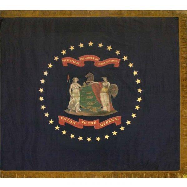 2151: CIVIL WAR HAND PAINTED SILK PRESENTATION FLAG