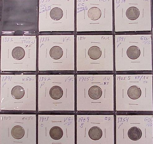 1006: LOT (15) ASSORTED SEATED/BARBER DIMES