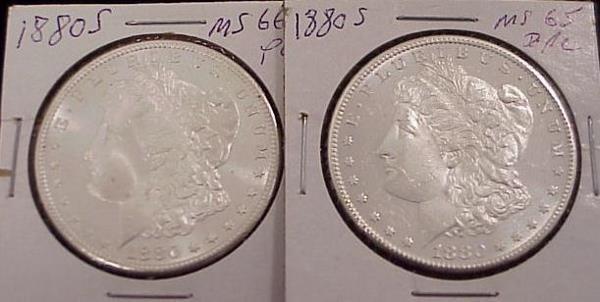 1015: LOT (2) 1880S MORGAN SILVER DOLLARS