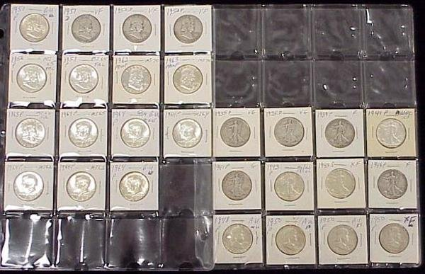 1022: LOT (27) ASSORTED SILVER HALVES