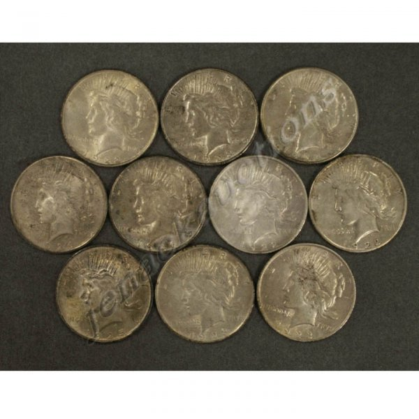 2: LOT (10) ASSORTED PEACE SILVER DOLLAR COINS