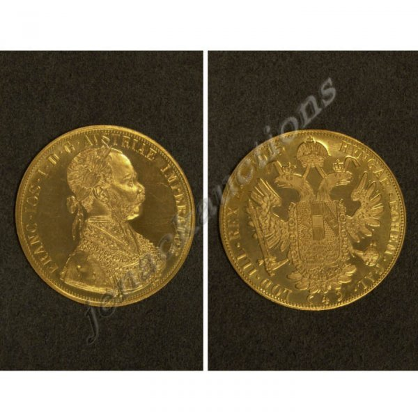 3: AUSTRIA 1915, 4 DUCAT GOLD TRADE COIN (RESTRIKE)