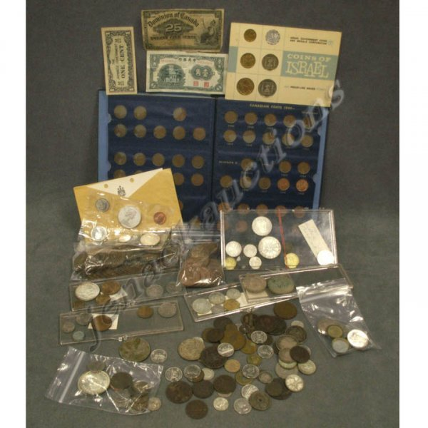5: LOT ASSORTED FOREIGN COINS/CURRENCY
