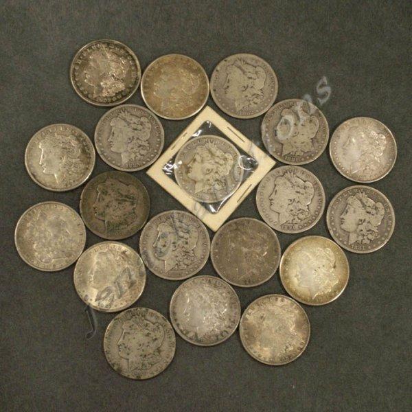 7: LOT (19) ASSORTED U.S. MORGAN SILVER DOLLAR COINS