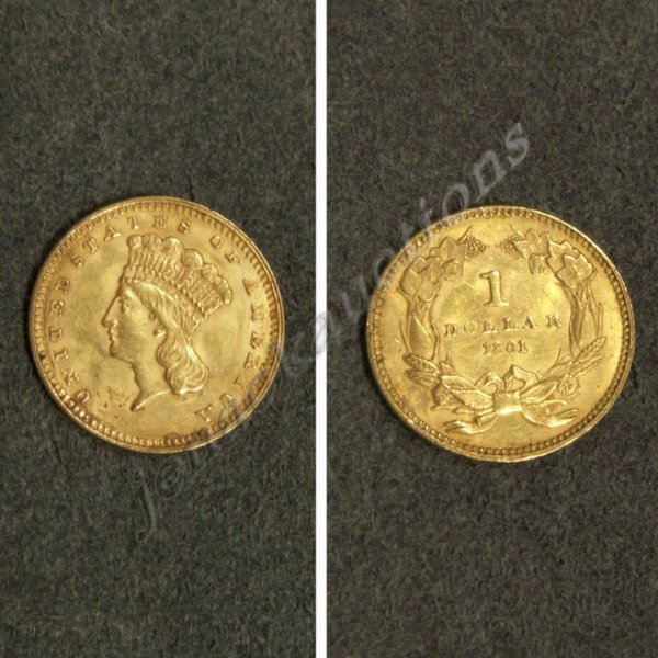 8: 1861 LARGE INDIAN HEAD $1.00 GOLD COIN