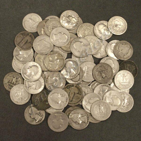 12: LOT (67) ASSORTED U.S. SILVER QUARTER COINS