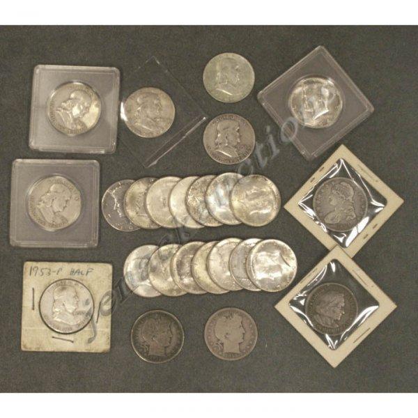 13: LOT (25) ASSORTED U.S. SILVER HALF DOLLAR COINS