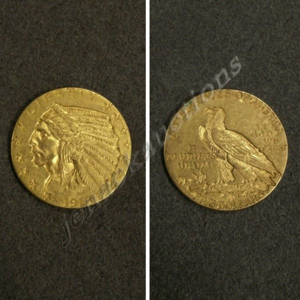 14: 1913 INDIAN HEAD $5.00 GOLD COIN