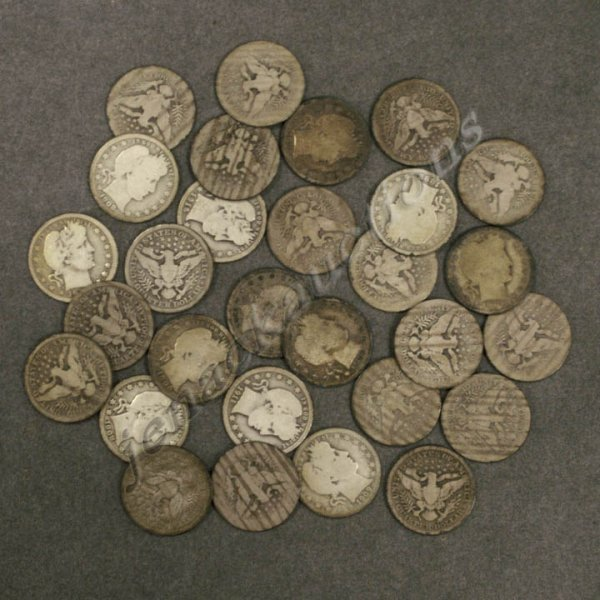 18: LOT (29) ASSORTED BARBER SILVER QUARTER COINS