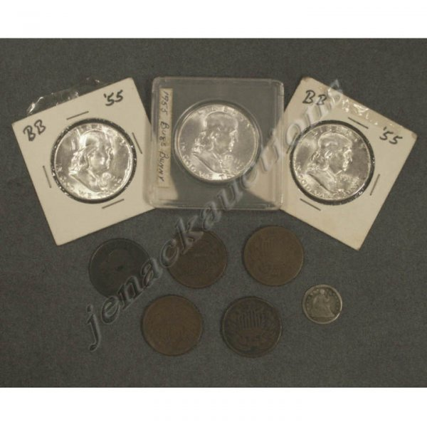 21: LOT (9) U.S. SILVER COINS INCLUDING (3) 1955