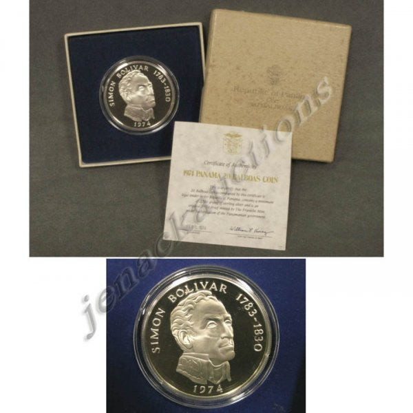 22: 1974 PANAMA 20 BALBOUS STERLING SILVER COIN