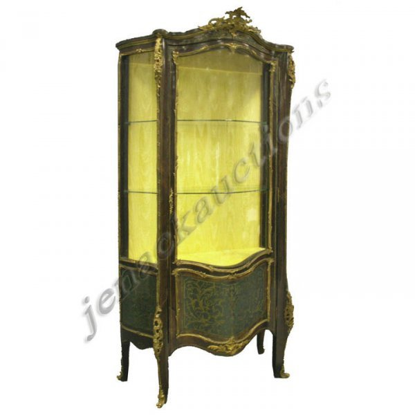 199: FRENCH BOULLE STYLE CARVED & BRASS INLAID VITRINE
