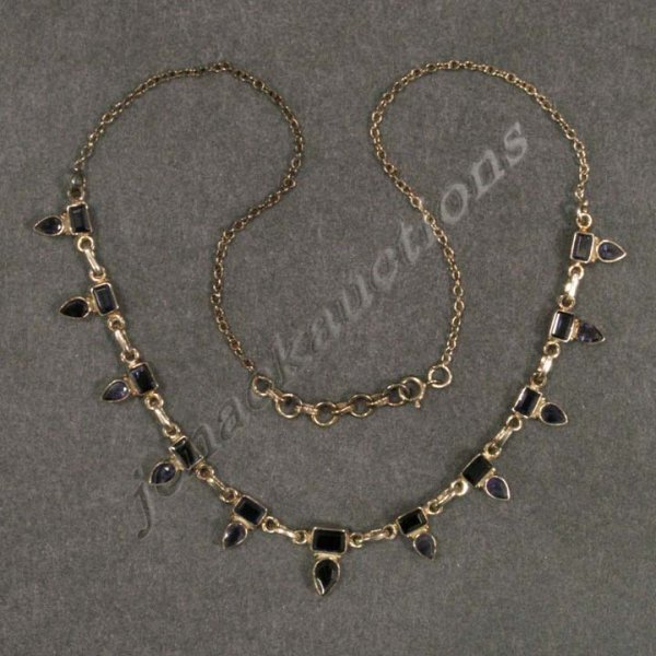 1005: STERLING & AMETHYST NECKLACE WITH EXTENSION