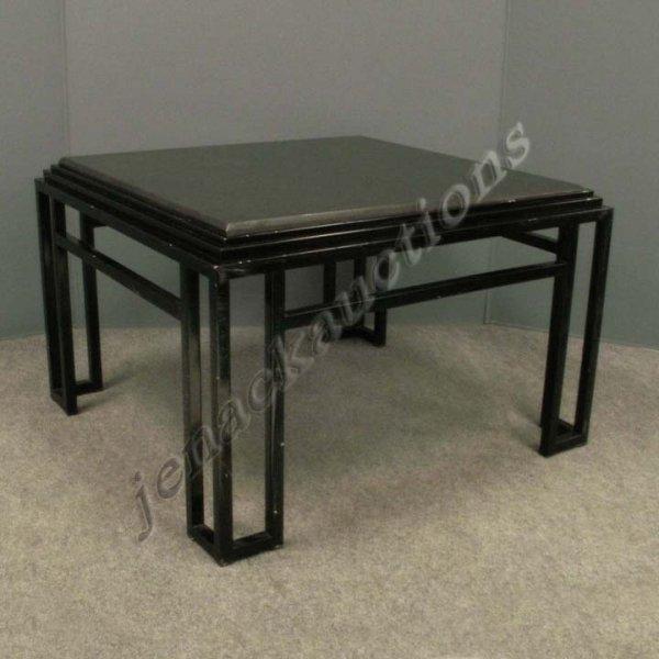 1007: PAIR DESIGNER MODERN WROUGHT IRON/GRANITE TABLES