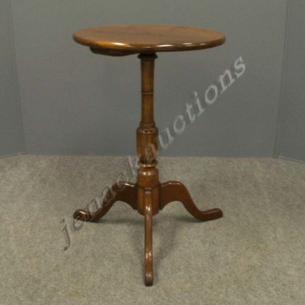 1011: CARVED CHERRY TRI-POD BASE STAND