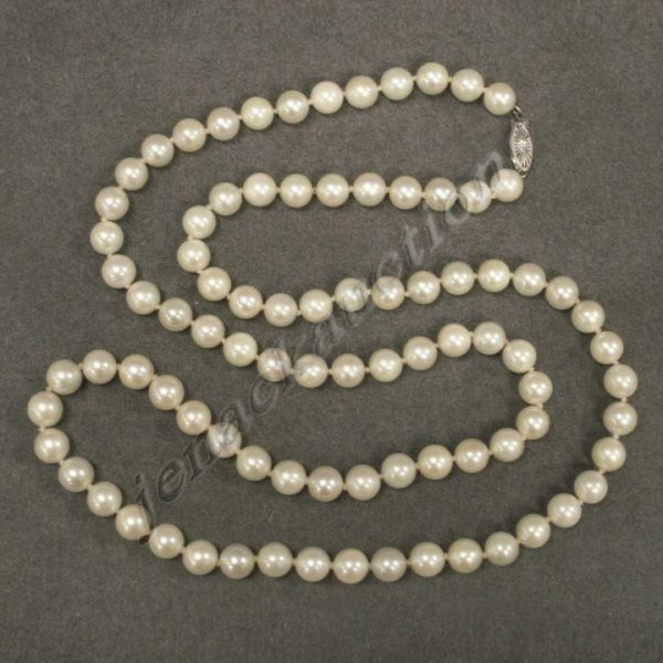 1018: 8.01-8.20MM STRAND CULTURED PEARLS WITH 14K CLASP